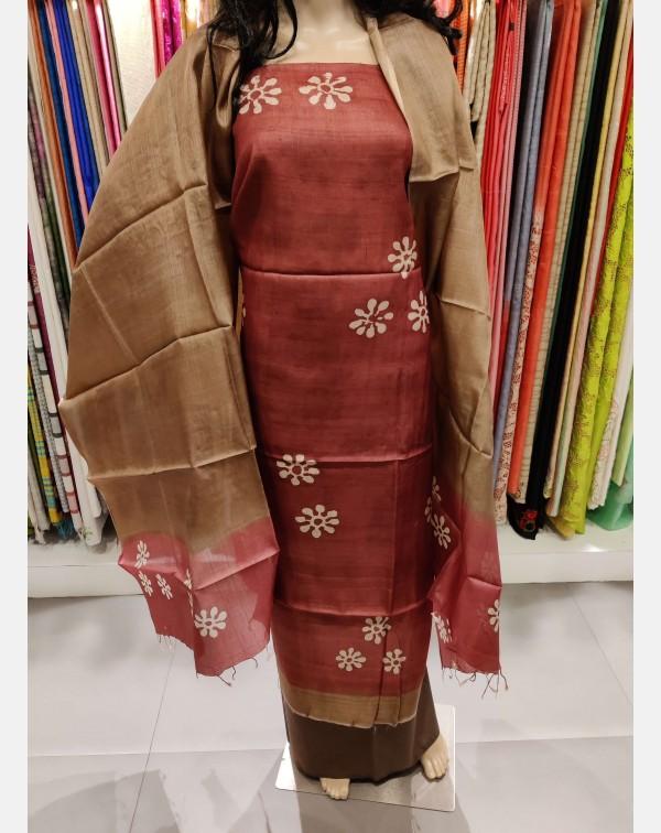 Block print on maroon Tussar silk salwar set