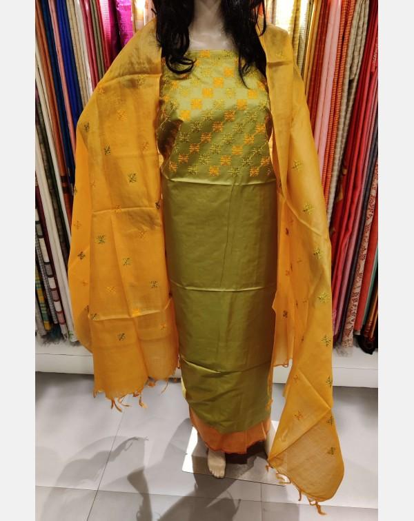 Embroidery work on light green Tussar silk salwar ...