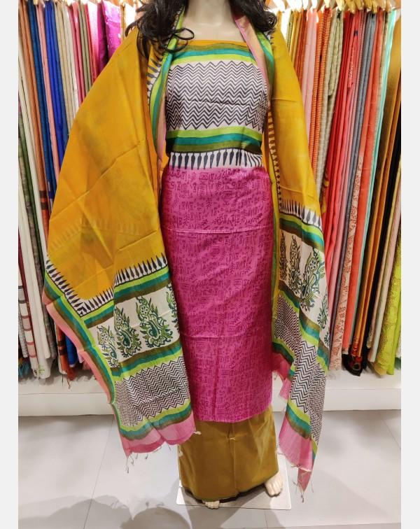 Printed pink Tussar silk salwar set.