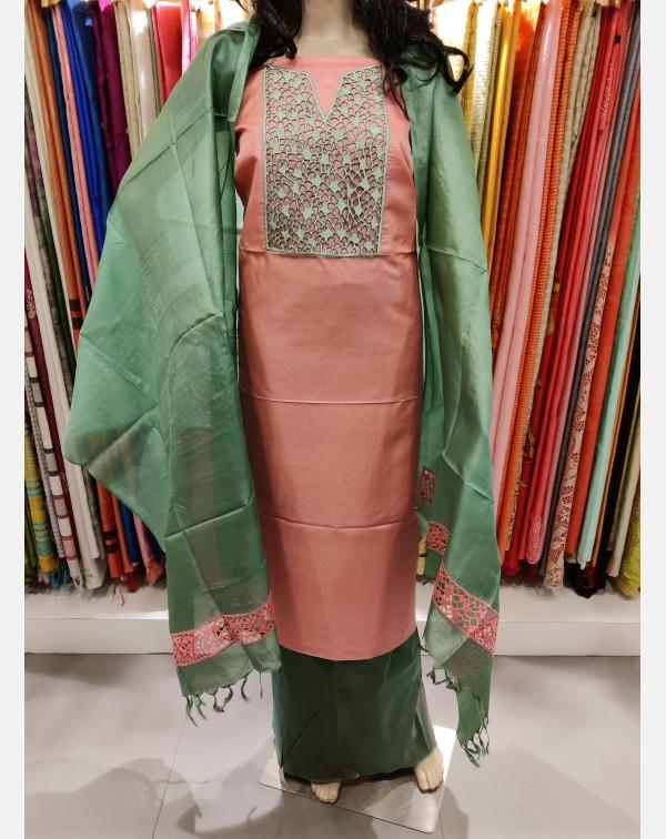 Embroidery cutwork on peach Tussar silk salwar set...