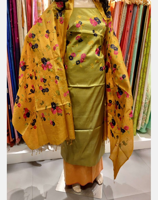 Embroidery work on green Tussar silk salwar set