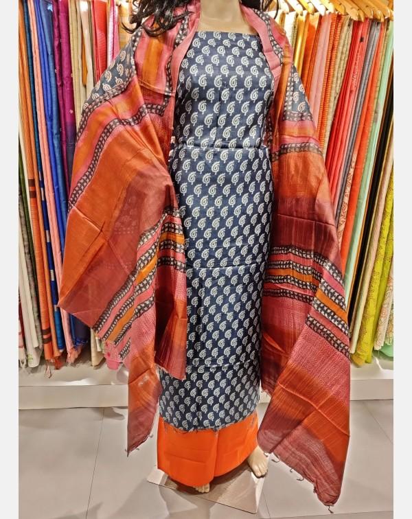 Blue and white printed Tussar silk salwar set