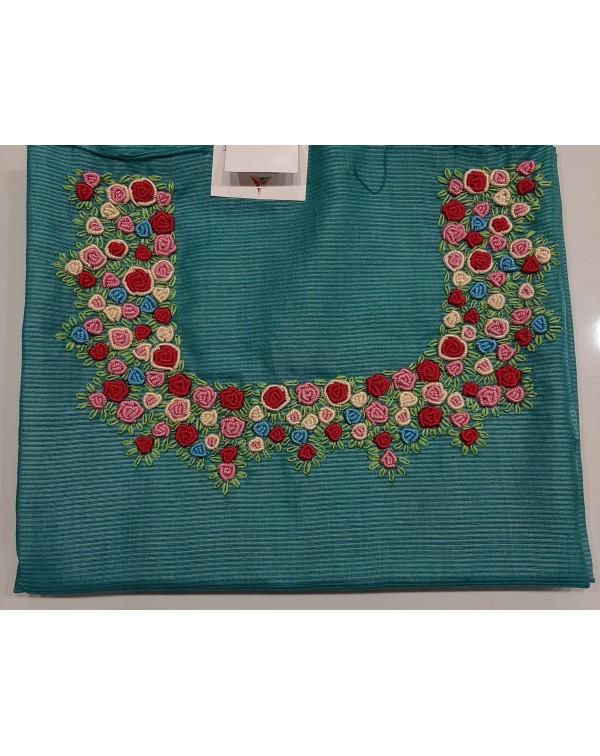 Handworked tussar silk unstitched top