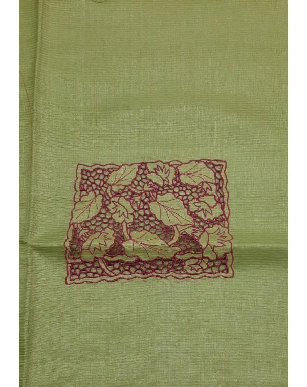Twine cutwork on tussar silk salwar tops