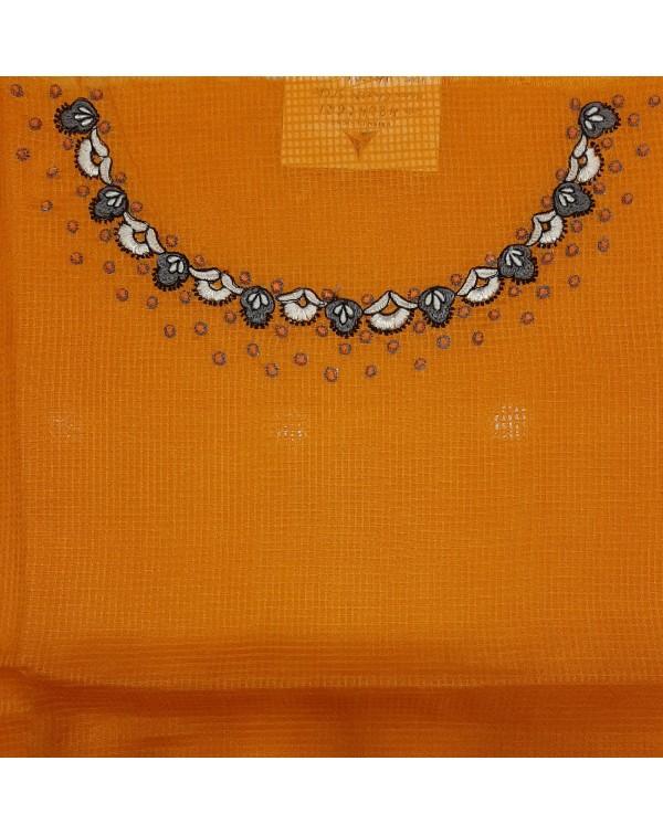 Embroidery work on check silk salwar top
