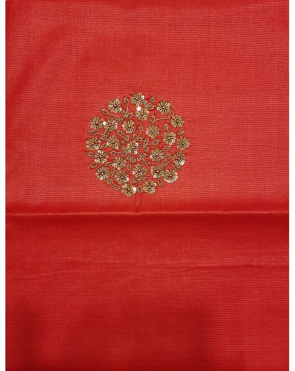 Handwork on tussar silk salwar top