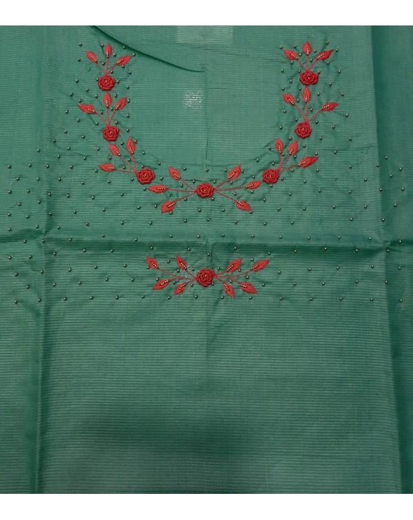 Handwork on tussar silk top