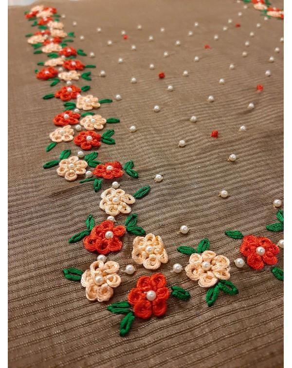 Handwork on tussar silk top.