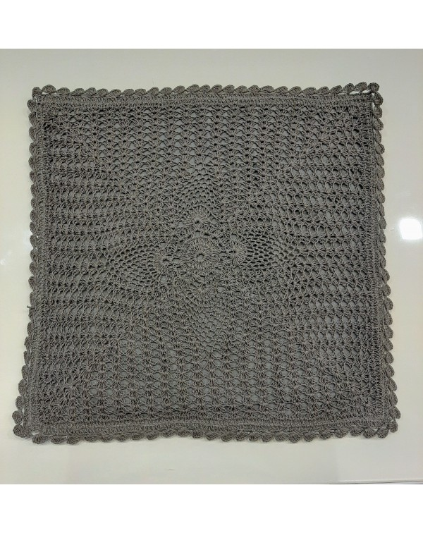 Crochet cushion cover grey 16x16
