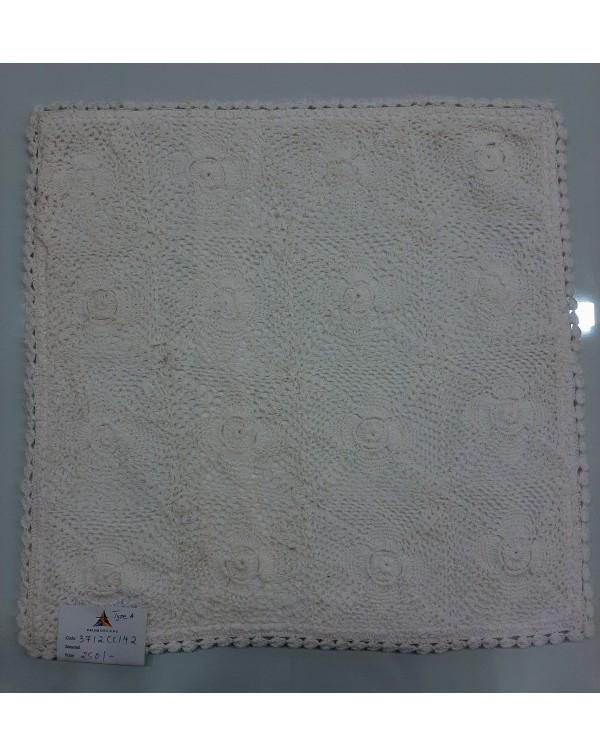 Crochet cushion cover white 16x16 type A