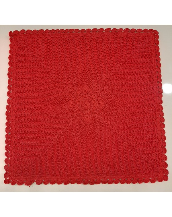 Crochet cushion cover red 16x16 type A