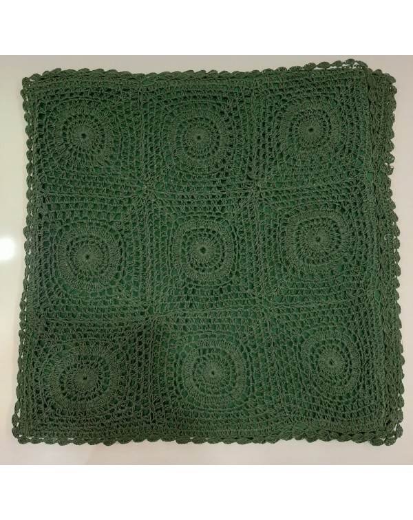 Crochet cushion cover green 16x16 type B