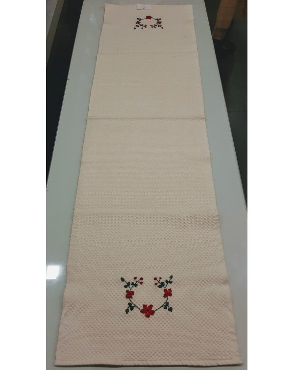 Table Runner With Ribbon Work - White