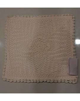 Crochet cushion cover white 12.5 x 12.5