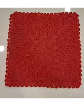 Crochet cushion cover red 12.5 x 12.5
