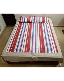 Multi colour stripes queen size bedspreads