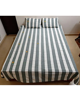 Cross stitch work on stripes queen size bedspread