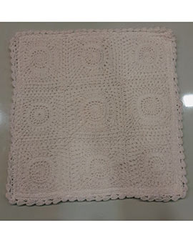 Crochet cushion cover white 12.5 x 12.5