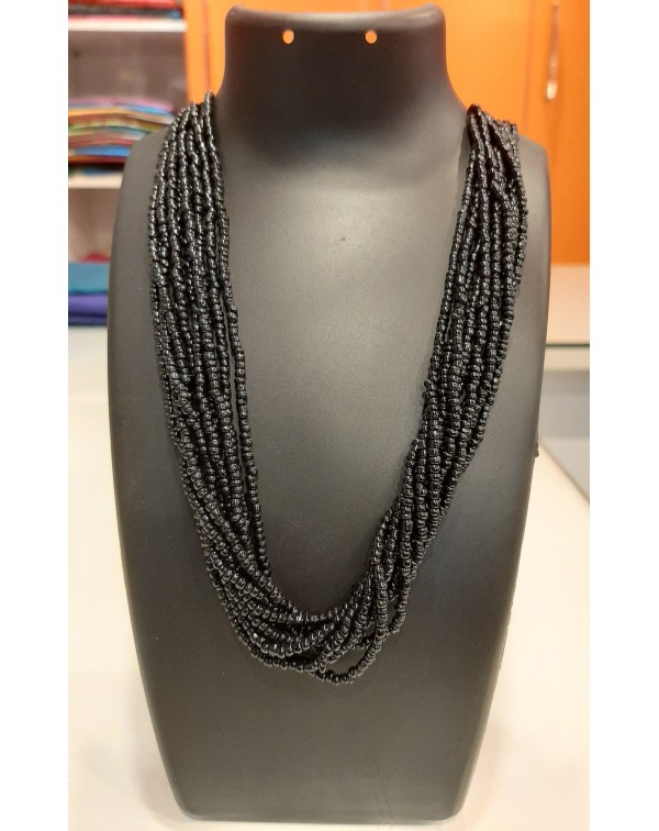 10 layer black bead necklace