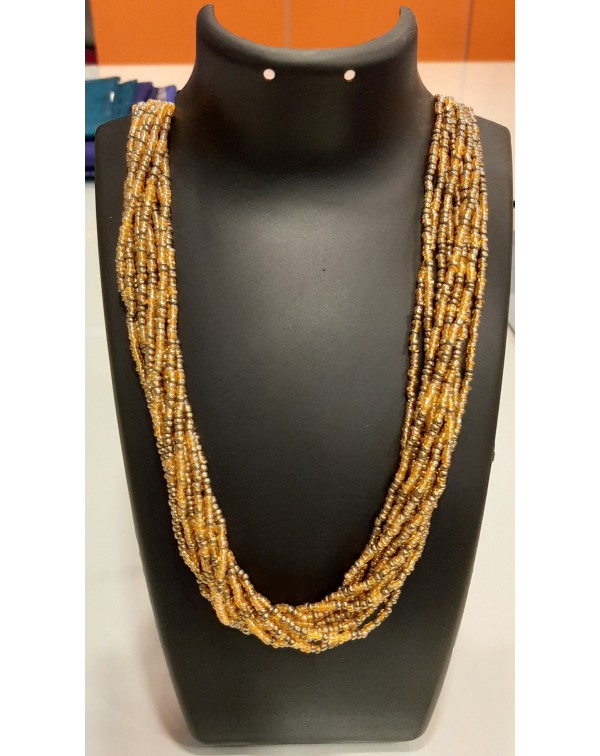 10 layer gold & yellow bead necklace