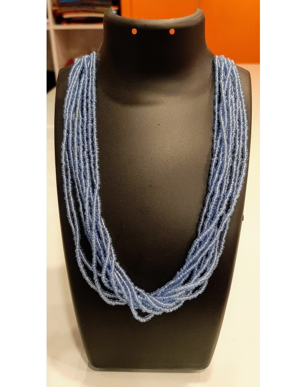 10 layer blue bead necklace