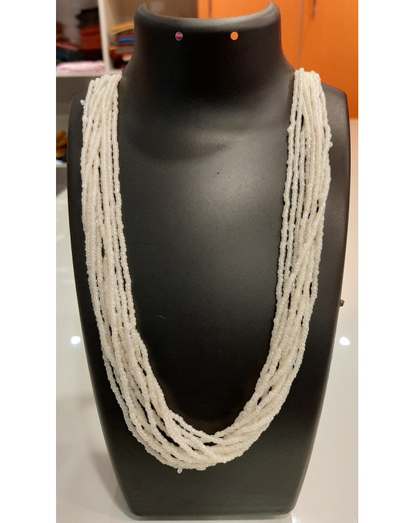 10 layer white bead necklace