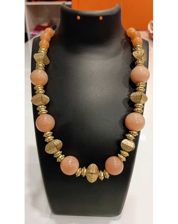 Light peach marble stone necklace