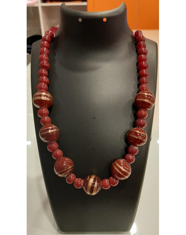 Red marble stone necklace