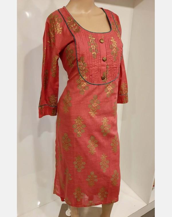 Peachish pink cotton kurthi large