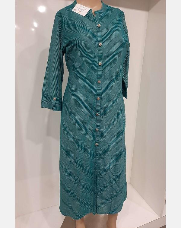 Teal blue cotton striped kurthi large