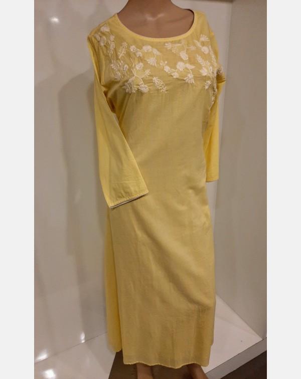 Lemon yellow cotton kurthi with off white embroide...