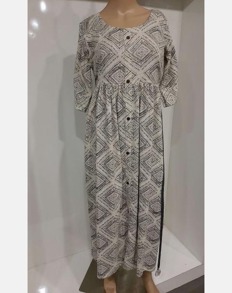 Off white kurthi with gray block print large.