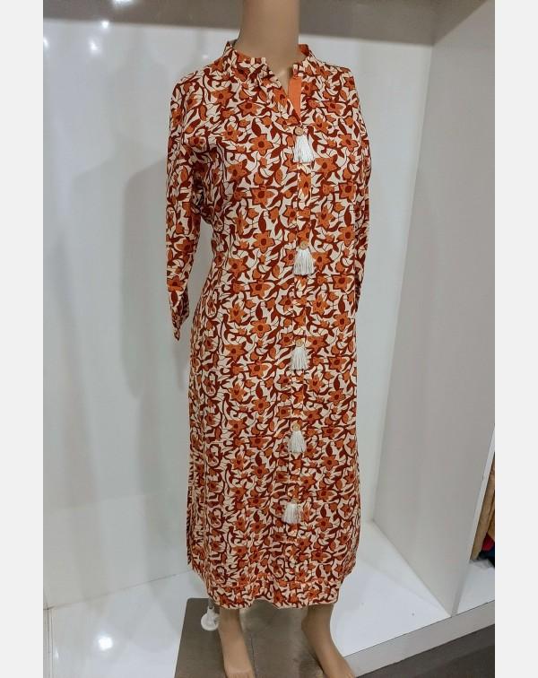 Brown and orange printed cotton kurthi XL