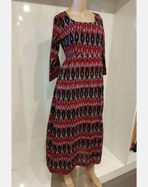 Black & Maroon Ikath print cotton kurthi XL