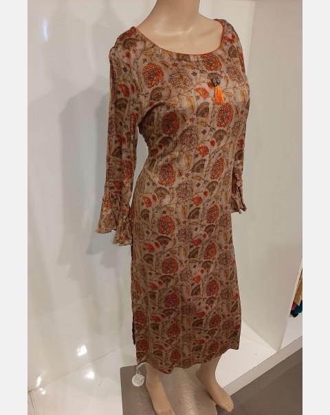 Floral print on cotton satin kurthi XL