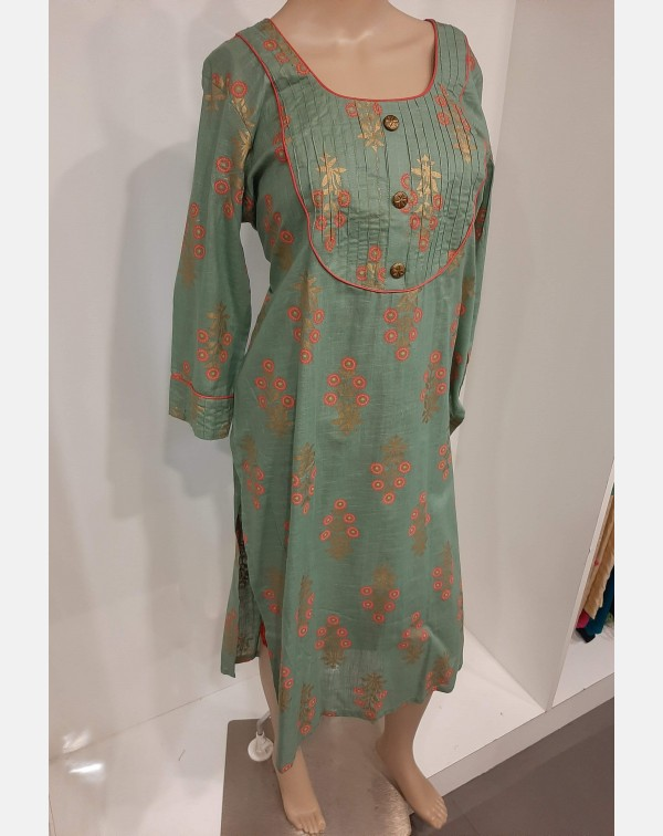 Pastel Green Khadi Block Print On Cotton Kurthi XX...