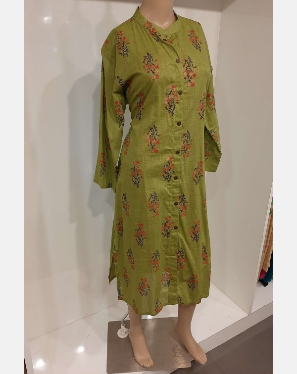 Floral Khadi block print on parrot green cotton ku...