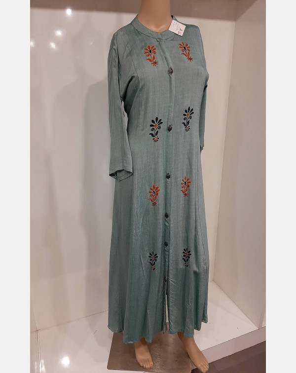 Sea blue handworked cotton kurthi XL