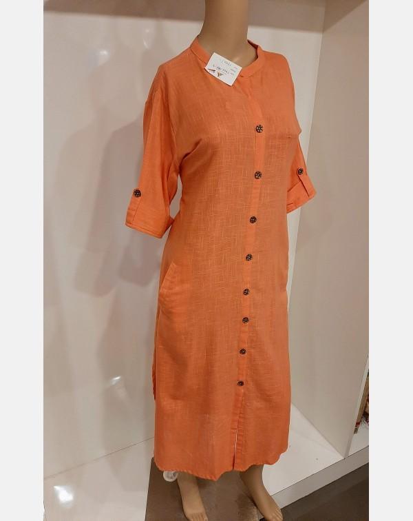 Peach cotton kurthi - XL