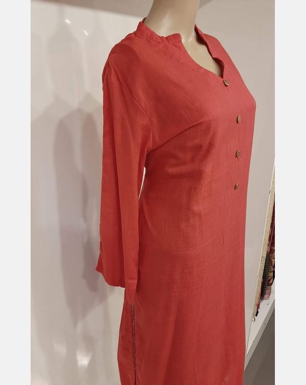 Pinkish red cotton kurthi - XXL