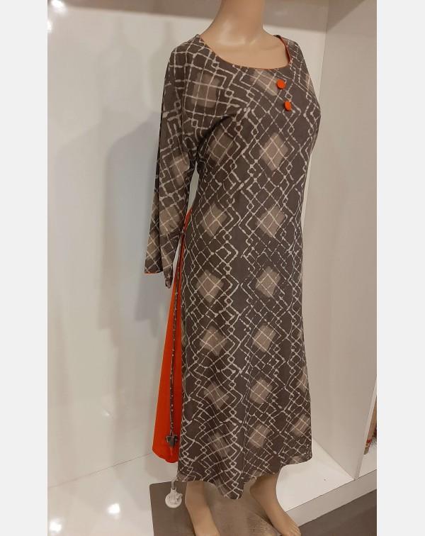 Dabu print on grey cotton kurthi - XXL