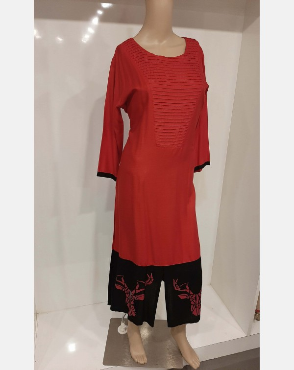 Red cotton kurthi - XXL