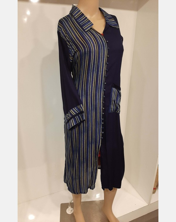 Navy blue and stripes cotton kurthi - XXL