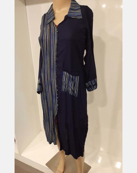 Navy blue and stripes cotton kurthi - XXL