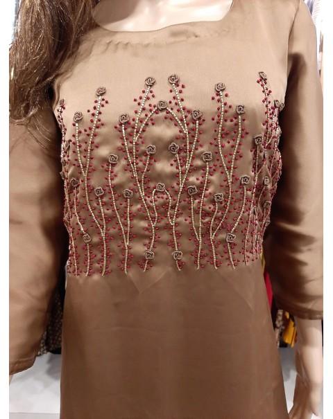 Hand worked designer chiffon kurthis