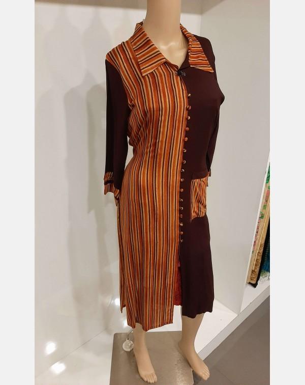 Rayon kurthi with Stripes and plain combination la...