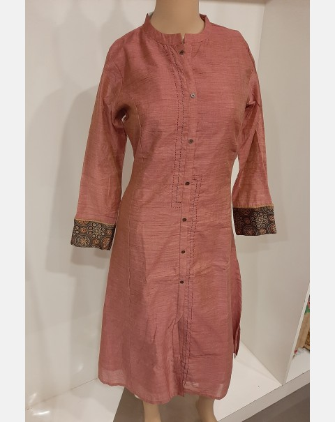 Dusty pink Chanderi silk kurthi large.