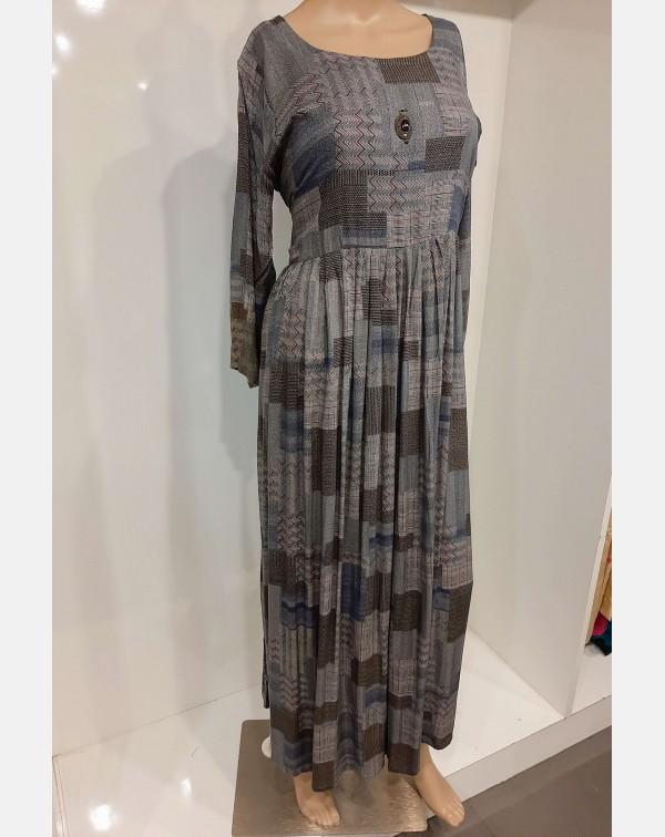 Grey printed rayon kurthi XL