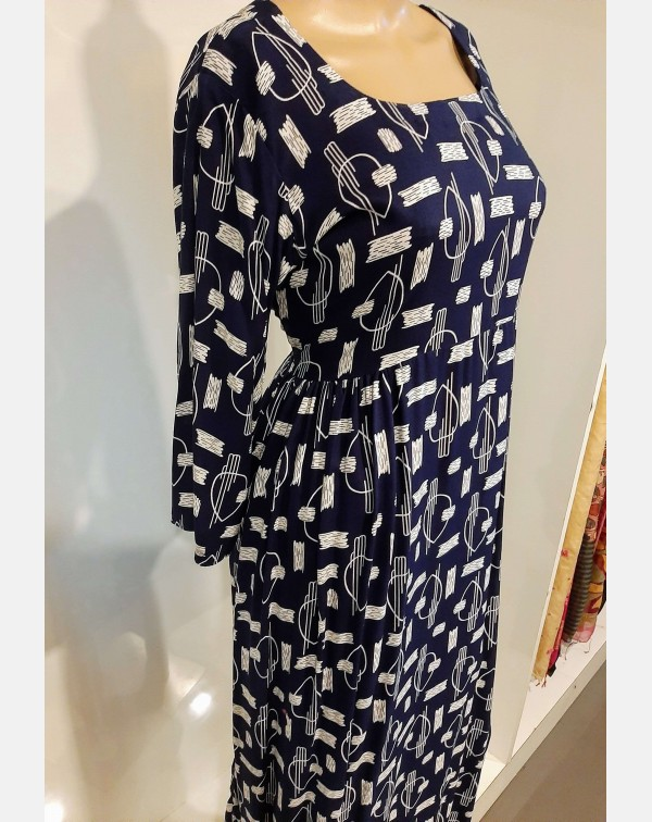 Navy blue printed rayon kurthi - XL