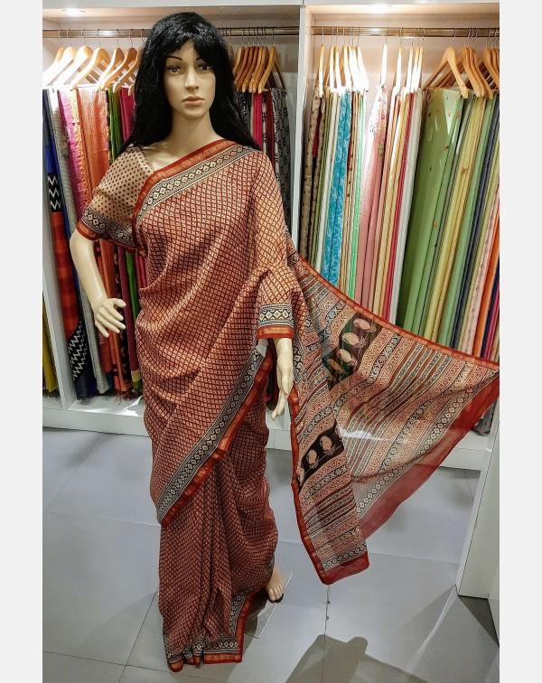 Printed chanderi silk saree